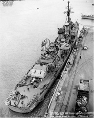 Navy Photo 7823-12-50, aft plan view of USS Richard B. Anderson (DD-786) at Mare Island on 22 Dec 1950. The stern of the USS Bausell (DD 845) is just visible forward.