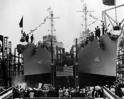 Launching of the U.S. Navy destroyers USS Fletcher (DD-445) and USS Radford (DD-446) at Federal Shipbuilding and Drydock Company, Kearny, New Jersey, on 3 May 1942.