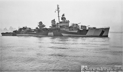 USS Radford (DD 446) off San Francisco after overhaul at Mare Island on January 15, 1944.