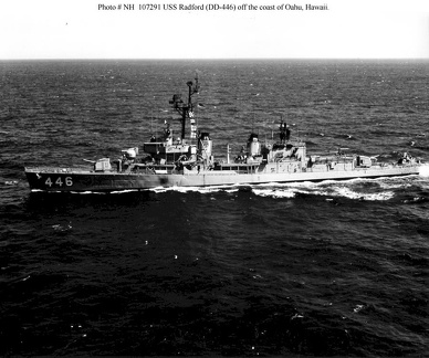 USS Radford (DD-446) underway off the coast of Oahu, Hawaii on 1 January 1968. She is in her final configuration, as fitted during her 1960 FRAM II modernization with new smokestack caps and a DASH drone helicopter hangar and flight deck.